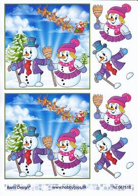 Sneeuwman Sneeuwvrouw kerst  A4